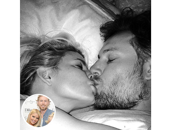 Mwah! Jessica Simpson Shares Sweet Kiss with Fiancé Eric Johnson