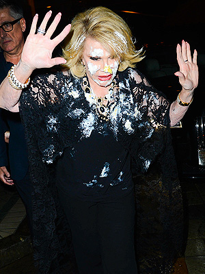 Joan Rivers Cake-Bombed at QVC Red Carpet Style, Exits Covered in Icing