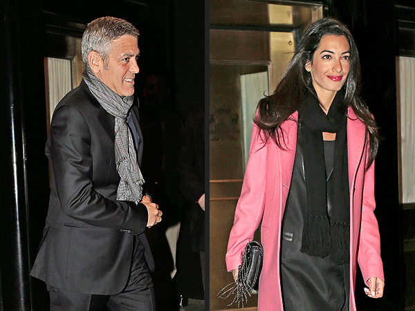 George and Amal Dine with His Parents in Lake Como