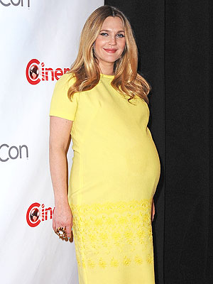 Drew Barrymore Pregnant CinemaCon Yellow Dress