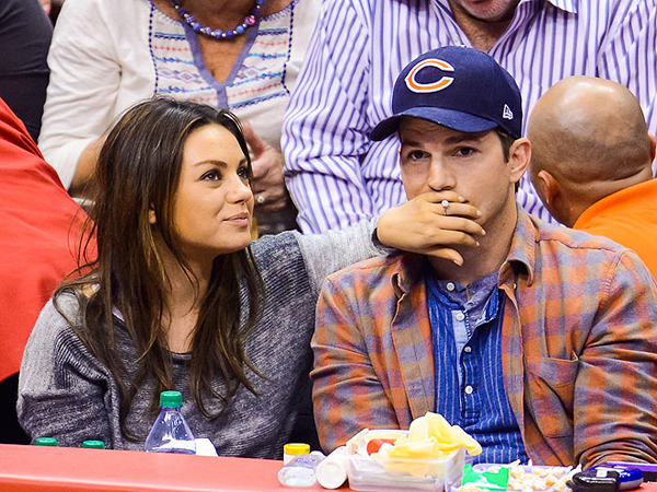 Ashton Kutcher and Mila Kunis Lock Lips on Kiss Cam at Clippers Game
