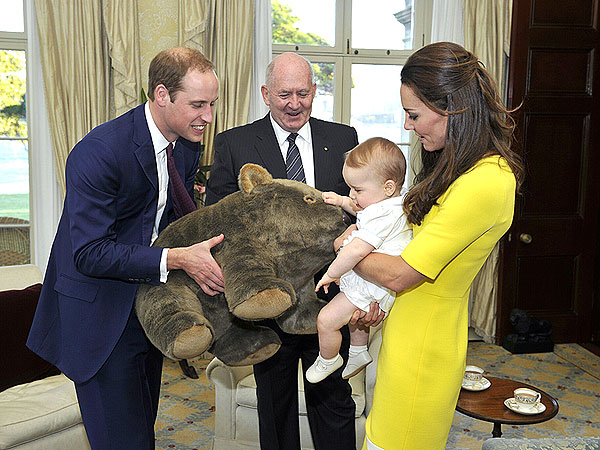 Royal Family Arrives in Australia – See Prince George's Cuddly Present!