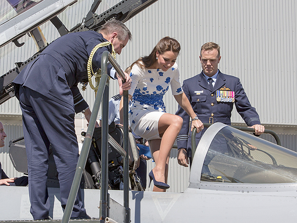 Kate Climbs Aboard Fighter Jet with Style – in Towering Heels