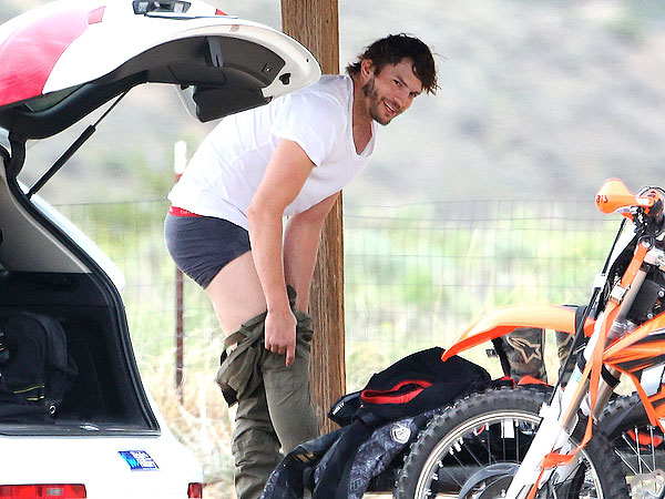 Ashton Kutcher Hits the Dirt in a Motocross Race Accident
