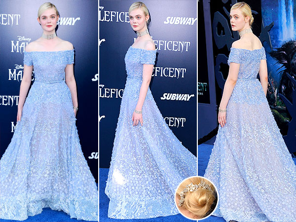 Elle Fanning Elie Saab Maleficent World Premiere