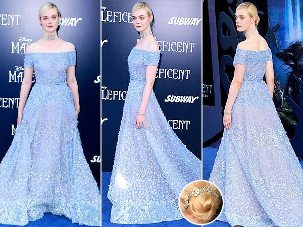 Elle Fanning Elie Saab Maleficent World Premiere