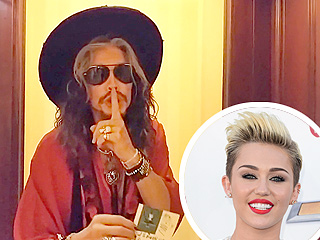 Steven Tyler Tries to Leave a Note Under Miley Cyrus's Hotel Room Door