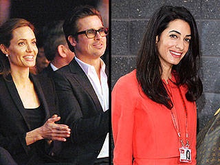 Amal Alamuddin Joins Angelina Jolie and Brad Pitt at Anti-Rape Summit
