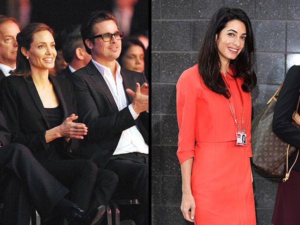 Amal Alamuddin Joins Angelina Jolie and Brad Pitt at Anti-Rape Summit