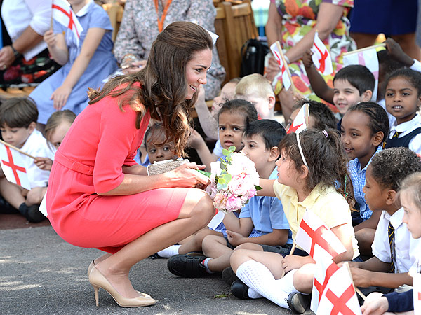 Kate Delights London School Kids and Says George Is 'Racing Around'
