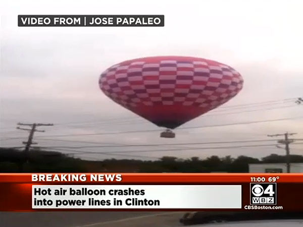 Hot-Air Balloon Collides with Power Lines in Massachusetts