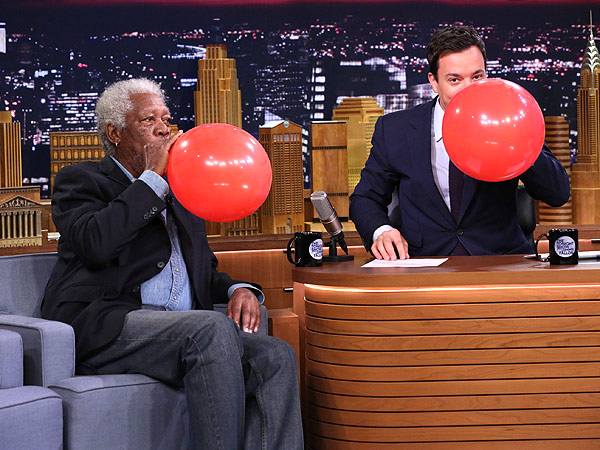 Hear Morgan Freeman's Voice When He Sucks on a Helium Balloon | Jimmy Fallon, Morgan Freeman
