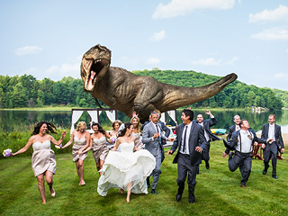 Jeff Goldblum Runs from T. Rex in World's Best Wedding Photo