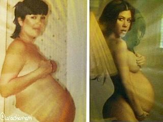 Kourtney Kardashian Compares Nude Pregnancy Pic – with Mom Kris's!   Kourtney Kardashian