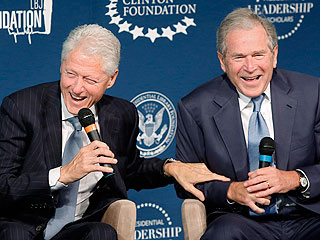 George W. Bush Preps Bill Clinton for the Grandfather Club