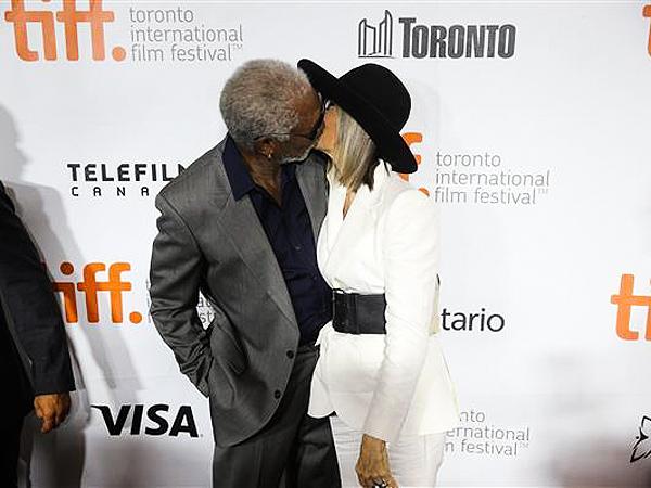 Diane Keaton Kisses Morgan Freeman At 2014 Toronto
