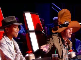 Blake Shelton Mocks Pharrell's Mountie Hat as The Voice Blind Auditions Continue | Blake Shelton, Pharrell Williams