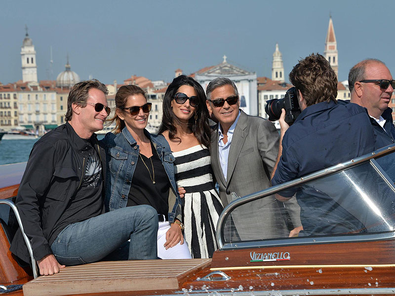 George Clooney, Amal Alamuddin and Famous Guests Kick Off Wedding Festivities in Venice| Couples, Weddings, Amal Alamuddin, Cindy Crawford, George Clooney, Matt Damon, Rande Gerber