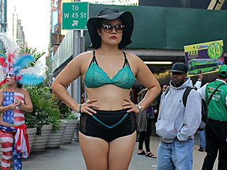 Why Is This Woman Wearing Lingerie in the Middle of Times Square?