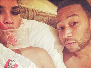 Best Date Ever? See Chrissy Teigen & John Legend Eat KFC in Bed