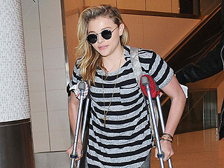 Why is Chloë Grace Moretz on Crutches?