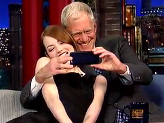 Emma Stone and David Letterman Take Cute Selfies Together
