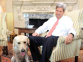 Oops! John Kerry's Dog Doesn't Quite Obey During Interview