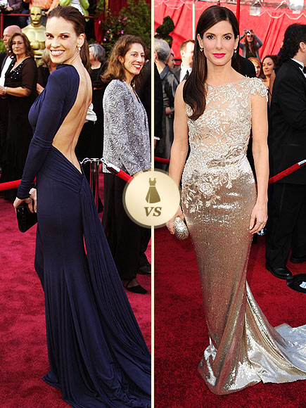 Oscar Gown Showdown: Hilary Swank, Sandra Bullock