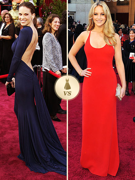 Oscar Gown Showdown: Hilary Swank, Jennifer Lawrence