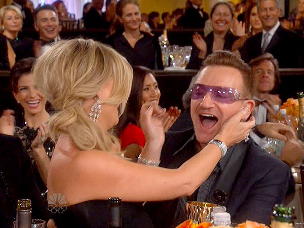 Watch Amy Poehler Get Frisky with Bono at the Globes!