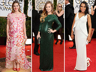 Drew! Kerry! Olivia! Pregnant Stars Had a Major Style Moment at the Golden Globes | Golden Globe Awards 2014, Golden Globes, Red Carpet, Drew Barrymore, Kerry Washington, Olivia Wilde