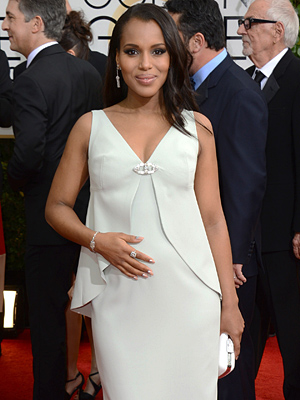 Golden Globes Kerry Washington Pregnant Belly Debut
