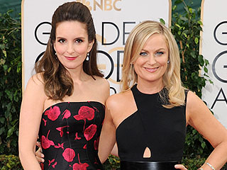 Were Amy and Tina Telling Jokes? We Were Too Obsessed with Their Dresses to Notice   Golden Globe Awards 2014, Golden Globes, Amy Poehler, Tina Fey