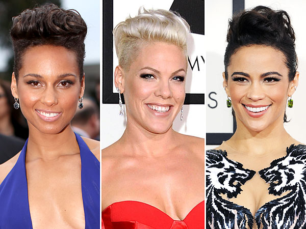 Grammy Awards Alicia Keys, Pink, Paula Patton Fauxhawk Hairstyle