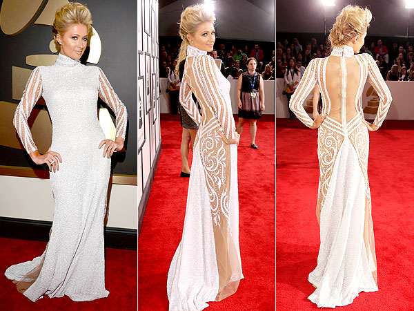 Grammy Awards Paris Hilton White Dress
