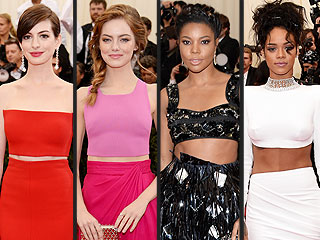 Four Stars, Four Glam Met Gala Crop Tops. Who Had Your Favorite? | Anne Hathaway, Emma Stone, Gabrielle Union, Rihanna