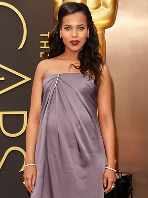 Oscars 2014 Kerry Washington Pregnant Beauty Plum Lips