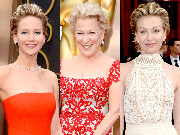 Oscars 2014 Jennifer Lawrence Bette Midler Portia de Rossi hair
