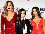 Kim Kardashian Shows Serious Cleavage at Oscars Party (Plus, See Khloé's Velvet Dress and Kourtney's Neck Tie!) | Khloe Kardashian, Kim Kardashian, Kourtney Kardashian