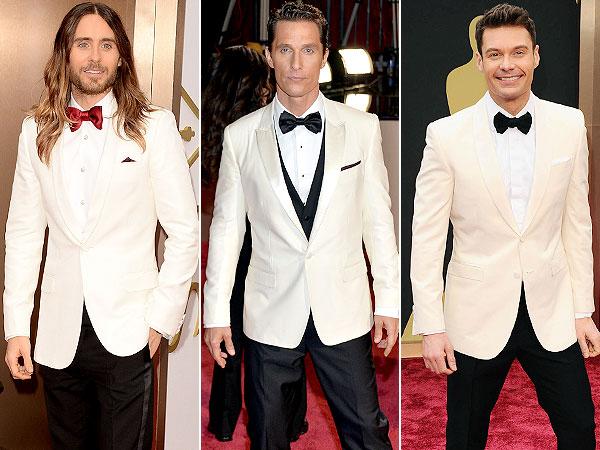 Oscars 2014 Jared Leto Matthew McConaughey Ryan Seacrest White Tuxedo Jackets