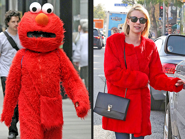 Emma Roberts wears Elmo coat before American Horror Story: Coven finale