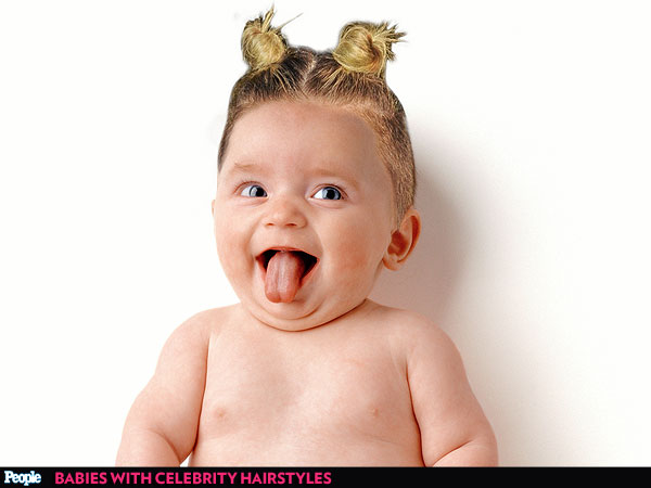 Nap Time Tresses: Babies Try on 7 Famous Celebrity Hairstyles | Miley Cyrus