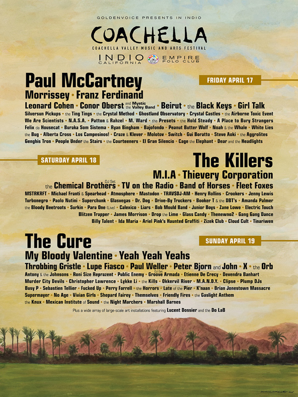 Revisit 15 Years of Coachella with Every Poster from Festivals Past| Black Eyed Peas, Foo Fighters, Kraftwerk, N.E.R.D., Pixies, Rage Against the Machine, Tool, The Coachella Music and Arts Festival, Pharrell Williams