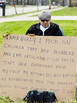 'I Am A Bully' sign-holder convicted of bullying disabled neighbors