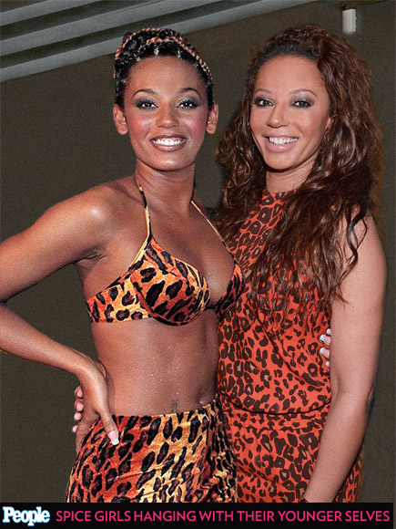 See the Spice Girls Posing with Their Past Selves| Spice Girls, Music, Emma Bunton, Geri Halliwell, Melanie Brown, Melanie Chisholm, Victoria Beckham