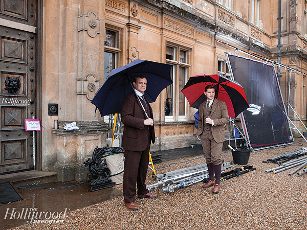 See Behind-the-Scenes Photos from the Upcoming Season of Downton Abbey| Downton Abbey, TV News, Hugh Bonneville, Julian Fellowes, Laura Carmichael, Maggie Smith, Michelle Dockery