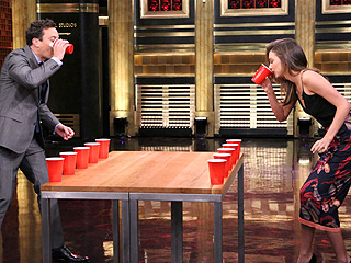 See Jimmy Fallon Play Flip Cup with Miranda Kerr | Jimmy Fallon, Miranda Kerr
