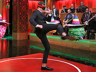 Jimmy Fallon Challenges Will Arnett to a Piñata-Busting Karate Contest