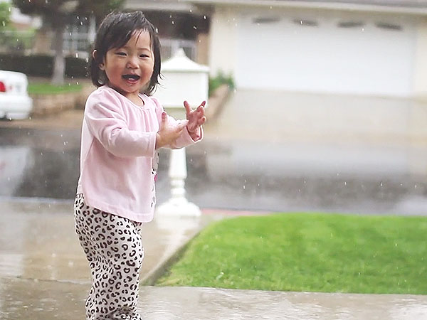 Toddler Experiences Rain for the First Time