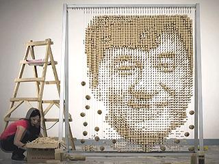 Artist Creates Portrait of Jackie Chan with 64,000 Chopsticks